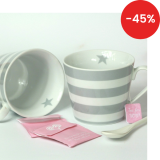 Porcelánový hrnek Grey stripes 350 ml