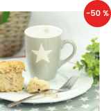 Porcelánový hrnek Light grey stars 330 ml