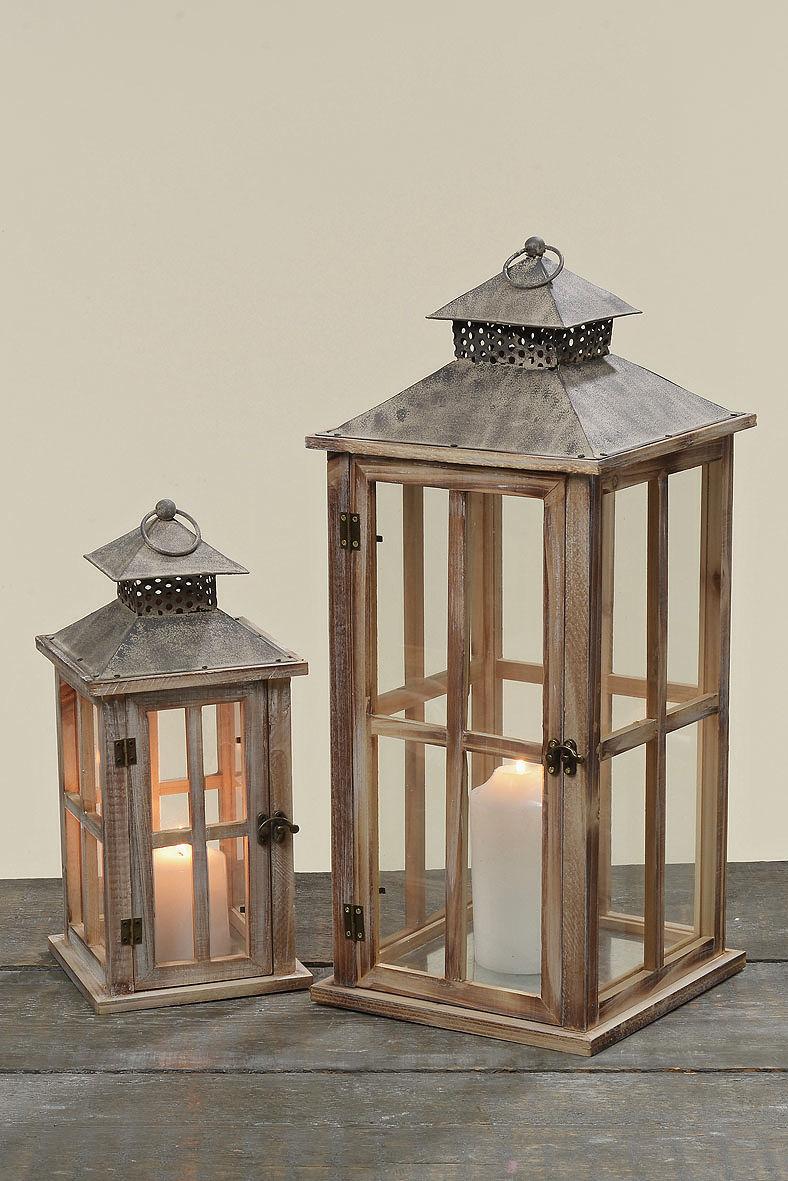 Dřevěná lucerna Firola 35 cm - menší