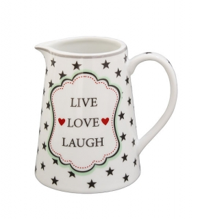 Porcelánový džbánek na mléko Live Love Laugh 220 ml
