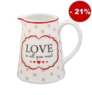 Porcelánový džbánek na mléko Love is all you need 220 ml