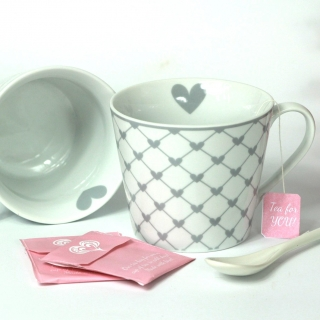 Porcelánový hrnek Grey hearts 350 ml